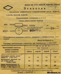 КД213А Этикетка