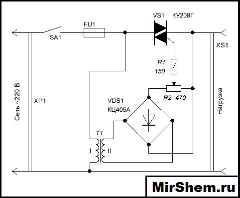 КУ208Г в схеме регулятора мощности
