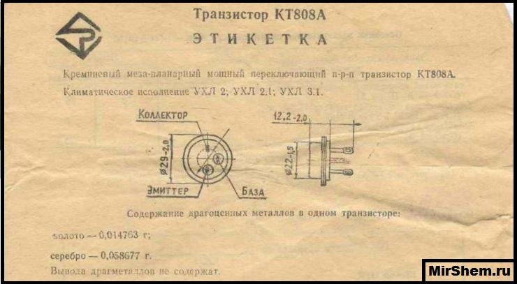 kt808a Этикетка