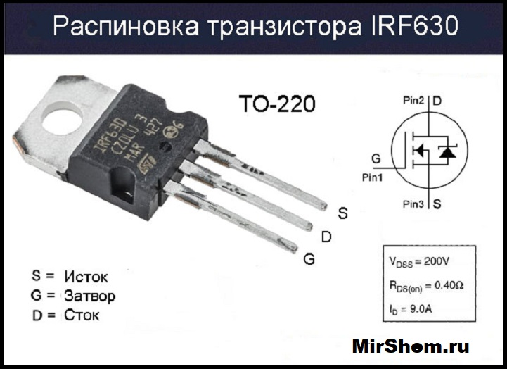 Распиновка транзистора IRF630
