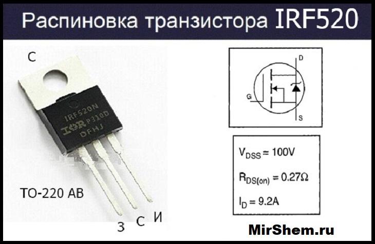 Распиновка IRF520