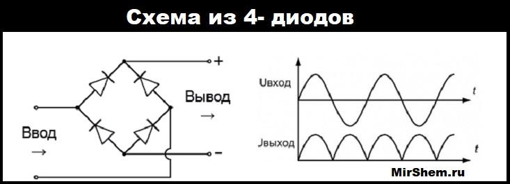 Схема моста из четырех диодов